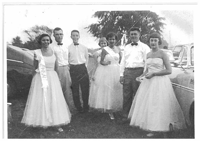 The 1954 4-H Royal Court, from left, included Judith (Thorne) Karcher, William Kariher, Gary Pollock, Kay (Kaiser) Burkett, Jean (Hunt) Stryffeler, Don Ewing, and Alice Ann (Mound) Flack. Missing was Ronald Moore.