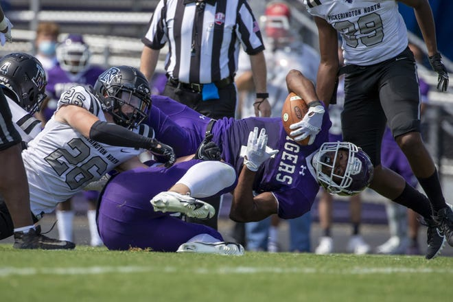 Pickerington North linebacker Eli Coppess (26) hopes to have a big game against crosstown rival Pickerington Central.
