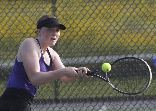 Junior Rowan Toole teams with sophomore Isabella Boskovska to form a formidable doubles pair for Reynoldsburg. The duo went 17-5 last season.