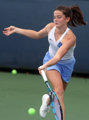 Berlin first-singles player Ella Franz, a senior, hopes to earn a return trip to the Division I state tournament after splitting a pair of three-set matches there last season.