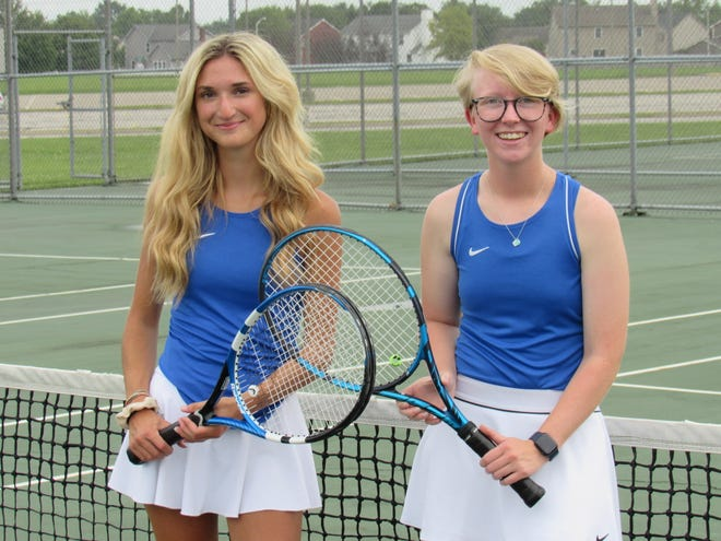 Seniors Alli Antonoff (left) and Sophia Toscano have been integral in helping second-year coach Cody Hawkins change the culture in the Central Crossing girls tennis program.