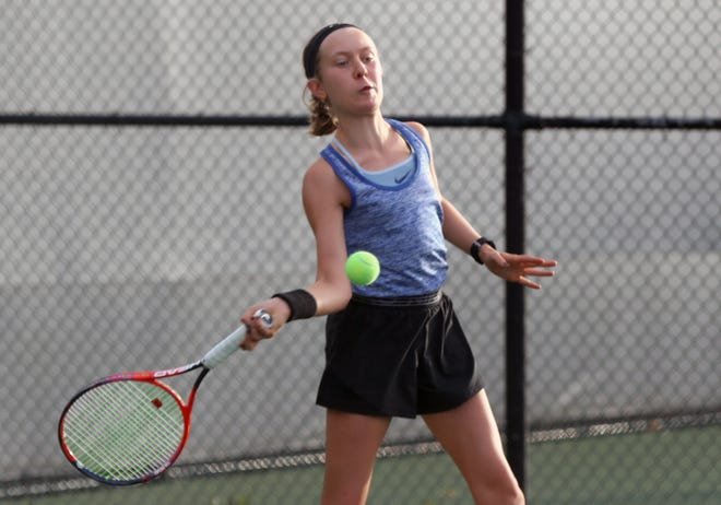 Determined to improve her endurance on the tennis court, Kilbourne sophomore Libby Alderman also is competing in cross country this season. She qualified for the Division I state tournament as a freshman.