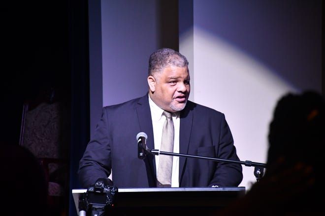 Randolph County NAACP Chapter President Clyde Foust addresses the crowd at Tuesday's community event.