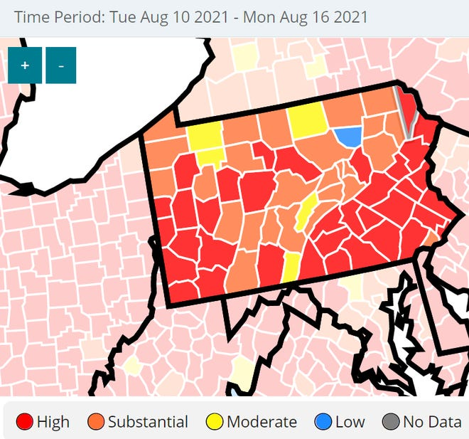 As of Monday, Aug. 16, Pike County entered substantial transmission.