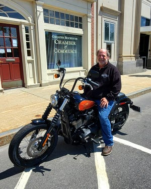 Rochester Chamber Raffle 2021 grand prize winner Duane Booth selected the 2021 FXBBS Harley-Davidson Street Bob motorcycle as his prize.
