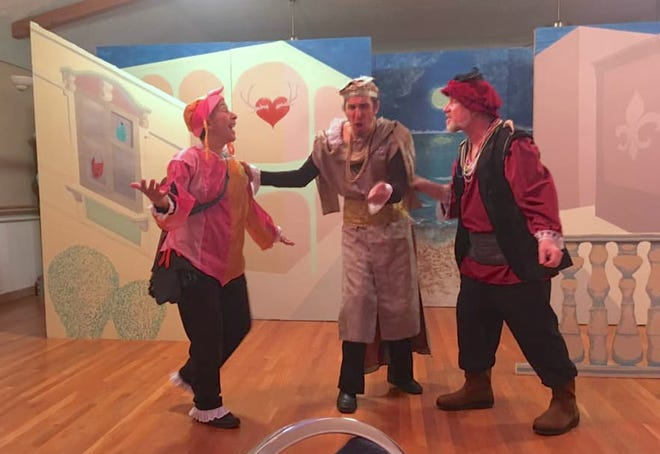 """Zilia Balkansky-Selles, Jason Lopez and Steve Heise rehearse a scene for the Monroe County Civic Theater's 2019 production of """"Twelfth Night."""""""