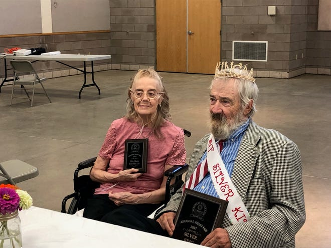 Silver Queen runner-up Ruth Smith and Silver King winner Robert Kennedy, both of Rocky Ford at the Gobin Building following the 2021 Silver Queen and King Competition.