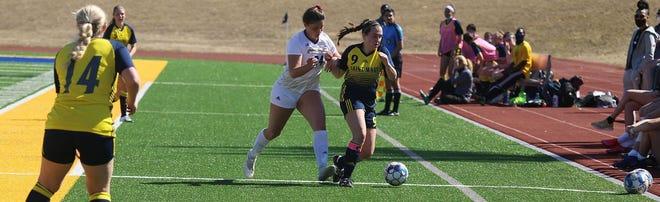 Shown is University of Saint Mary senior defender Megan McMillen.