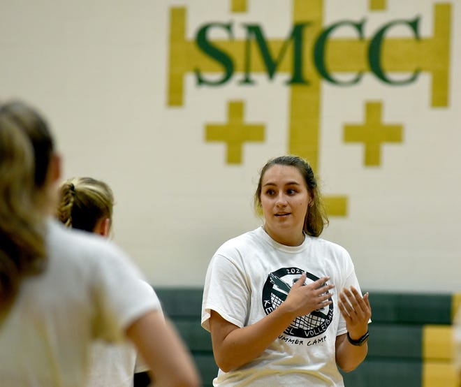 Cassie Haut won her debut as St. Mary Catholic Central's volleyball coach Friday, sweeping a doubleheader at Hudson.