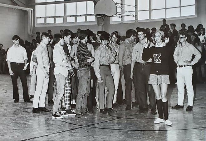 1970 Kennebunk High School football players and head cheerleader. Photo courtesy of Phil Morse