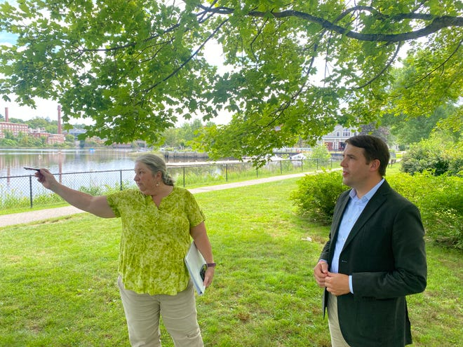 Exeter Public Works Director Jennifer Perry explains the scope of the town's sewer siphons project to U.S. Rep. Chris Pappas during a visit to town Wednesday.