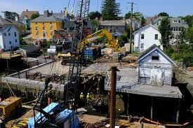 The 95 Mechanic Street Seawall reconstruction project is taking place starting August 23 on the site near where the La Cava building collapsed in August 2019.