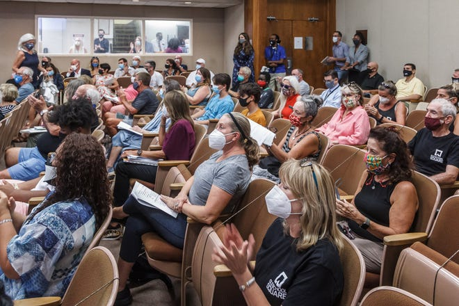 Dozens of residents filled public seating in the chambers beyond capacity at the city commission meeting at Delray Beach City Hall on Tuesday, August 17, 2021. Residents spoke about the city's recent decision to terminate the lease agreement with Old School Square Center for The Arts.