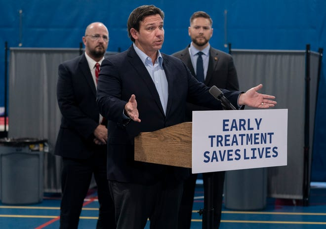 Gov. Ron DeSantis, speaks during a recent visit to a new monoclonal antibody treatment site in West Palm Beach.