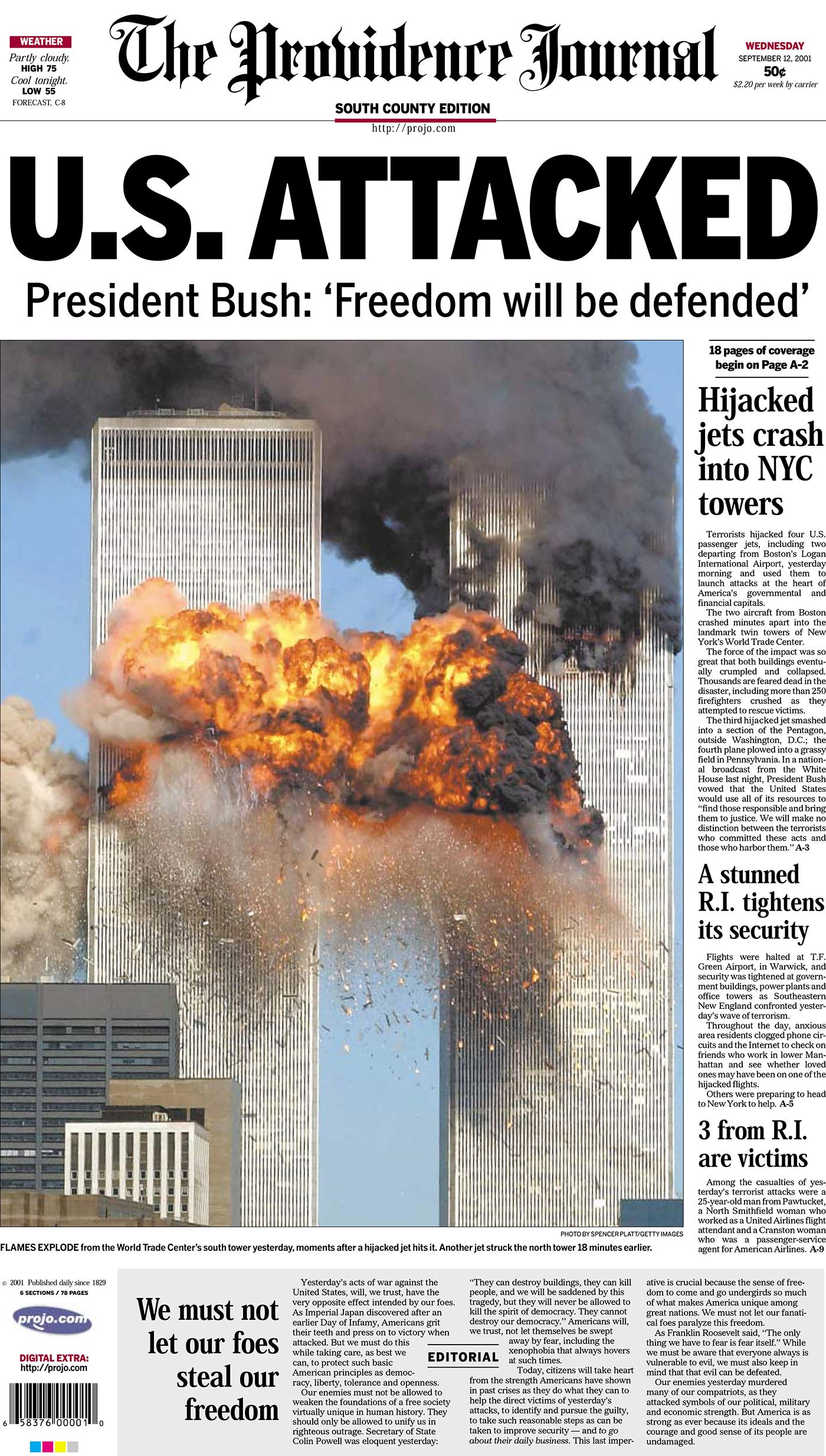 Providence Journal page one on Sept. 12, 2001