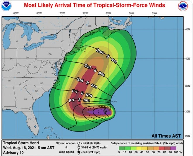 The National Weather Service says Tropical Storm Henri is likely to pass offshore this weekend, bringing high surf and the potential for rip currents. This map is part of the 5 a.m. Wednesday, Aug. 18, advisory.