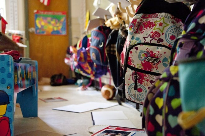 Captured in a metropolitan Atlanta, Georgia primary school, this photograph depicts a grouping of objects common to an average classroom setting, which included a variety of colorful backpacks, toys, papers, and paraphernalia associated with a school's learning environment. Photo courtesy of CDC/ Amanda Mills