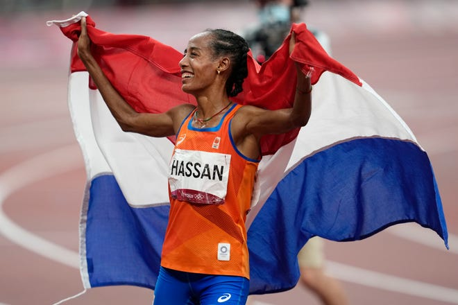 Sifan Hassan of the Netherlands, who won two gold medals and a bronze in Tokyo, as her sight set on the women's 5,000 world record during Friday's Prefontaine Classic at Hayward Field.