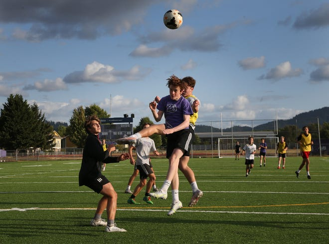 The South Eugene boys scrimmage during the first week of soccer practice for the upcoming season.
