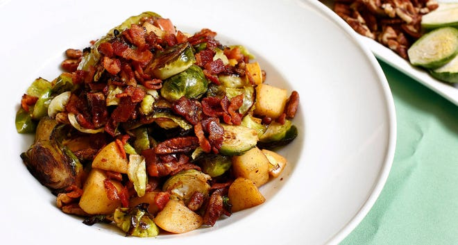 Caramelized Brussels Sprouts with Apples, Bacon and Pecans