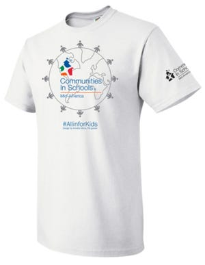 The winning T-shirt design came from Annette Mora, a 5th grader last year at Westside Elementary School, and shows students around the globe holding hands.