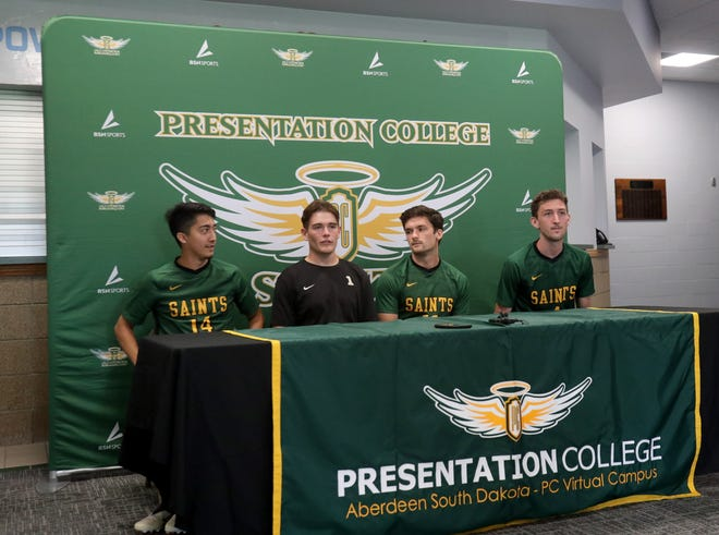 Presentation College men's soccer players (from left to right) Anthony Martinez, Jack Murray, Liam Putman, and Justin McClurg answer questions during the team's media day at the Strode Center. American News photo by Jenna Ortiz, 08/17/2021.