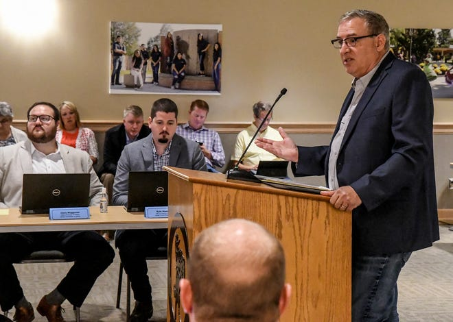 Mark Rude, right, addresses the Kansas House Committee on Water on Wednesday in Garden City. Policymakers are weighing the best way to ease Kansas' water problems in light of drought conditions hitting the western United States.