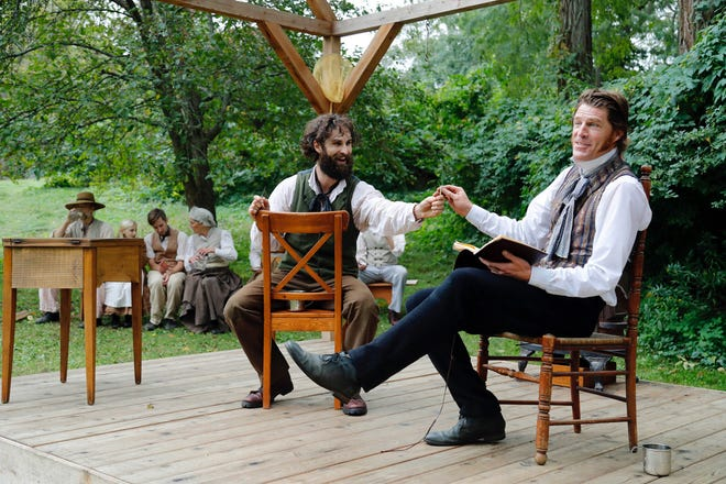 """Michael Wieser as Henry David Thoreau and Tyson Forbes as Ralph Waldo Emerson in a previous performance of """"Nature."""""""