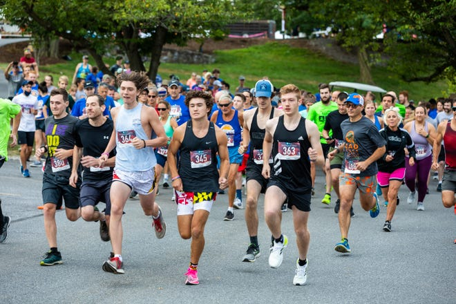 The Jack Roberts Memorial 5K gets underway in Leitersburg on Sunday morning. Sean Milligan (345) was the first finisher.