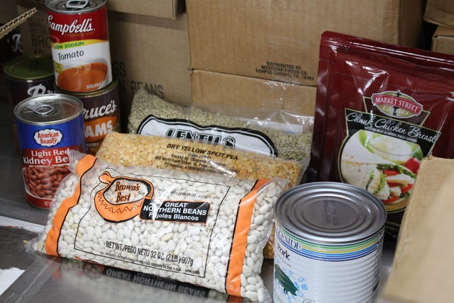 Along with canned goods distributed Aug. 17, the USDA commodity boxes included dry goods and proteins.
