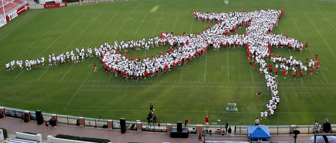 Members of the freshman class at the University of Alabama form the traditional script A on the field in Bryant-Denny Stadium Tuesday, Aug. 17, 2021. The event was one of many for incoming freshmen designed to help them acclimate to the university and the City of Tuscaloosa. [Staff Photo/Gary Cosby Jr.]