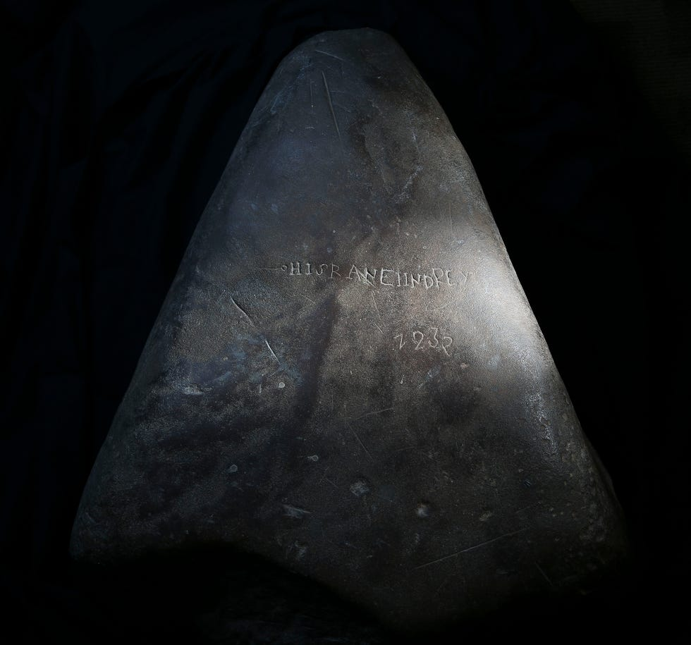 The Alabama Stone, found in 1817 along the banks of the Black Warrior River, is one of Alabama's enduring mysteries. It is seen in the Alabama State Archives in Montgomery Thursday, Aug. 5, 2021. [Staff Photo/Gary Cosby Jr.]