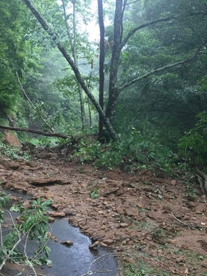 Scenes like this at Milepost 369 near Craggy Gardens on the Blue Ridge Parkway were the norm Aug. 17. Parkway staff are working to get the roadway opened in Asheville.