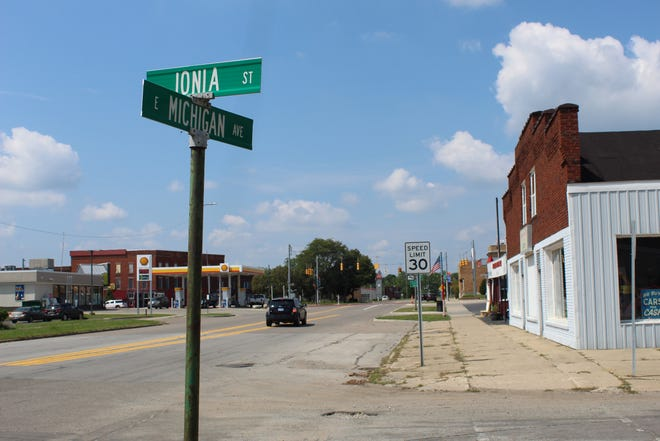 Michigan Avenue through downtown Albion pictured on July 18, 2021. City council voted to reconfigure the road between Ionia Street and Mingo Street to have one lane of traffic in either direction with parking on both sides.