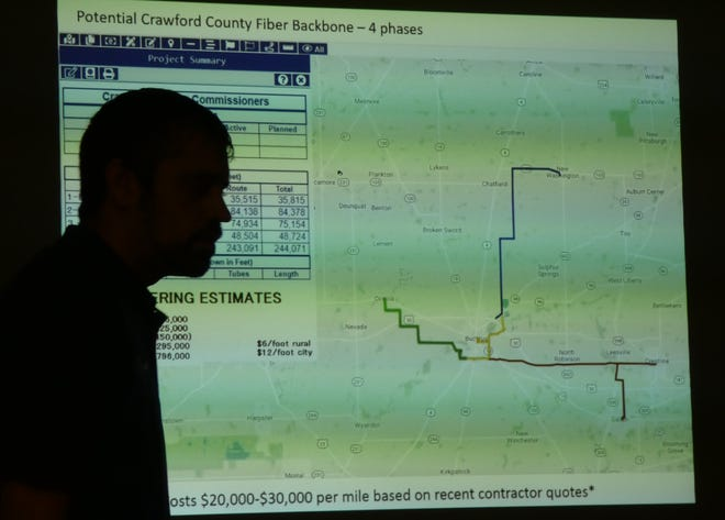 """Kurt Fankhauser, president and founder of Wavelinc Communications, presents his plan for a fiber optic """"backbone"""" to Crawford County commissioners on Wednesday."""