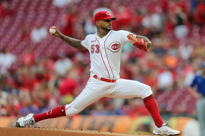 Aug 17, 2021; Cincinnati, Ohio, USA; Cincinnati Reds starting pitcher Vladimir Gutierrez (53) throws a pitch against the Chicago Cubs in the first inning at Great American Ball Park.