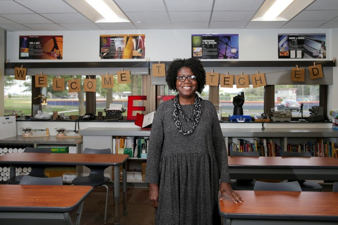 Sharita Ware, an engineering and technology education teacher at East Tipp Middle School, stands for a photo inside her classroom, Tuesday, Aug. 17, 2021 in Lafayette. Ware is a top three finalist for the 2022 Indiana Teacher of the Year Program.