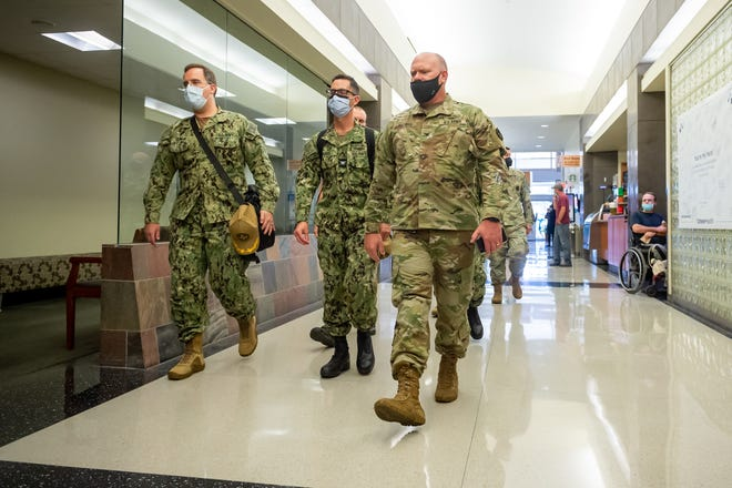 Ochsner Lafayette General Medical Center welcomed a 20-person crew of U.S. Navy healthcare professionals Wednesday as the hospital deals with its largest surge in COVID-19 patients yet. Wednesday, Aug. 18, 2021.