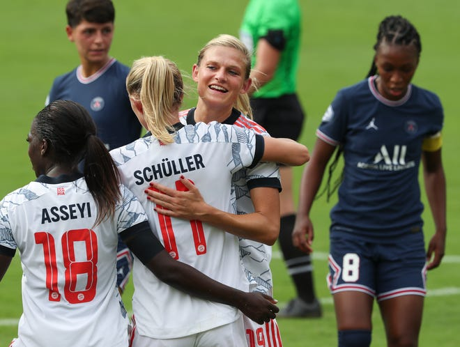 Bayern Munich's Carina Wenninger (19) celebrated with teammates after they scored against PSG in regulation during the Women's Cup at the Lynn Family Stadium in Louisville, Ky. on Aug. 18 2021.