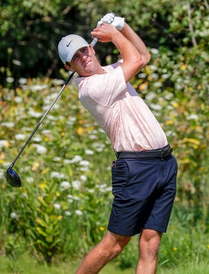 Harrison Ott follows a tee shot Wednesday at Blackwolf Run's Meadow Valleys Course on his way to winning a second straight Wisconsin State Open.