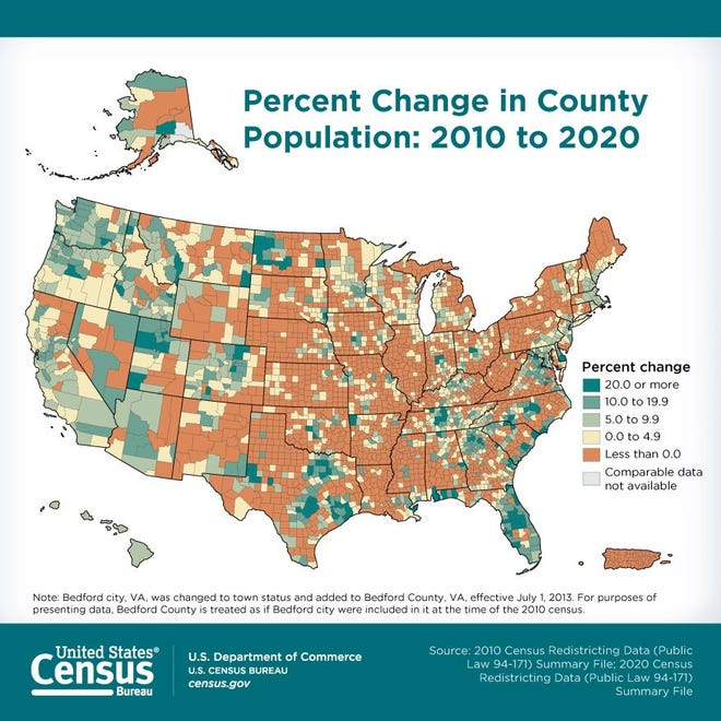 A photo of the United States population change from 2010 to 2020.