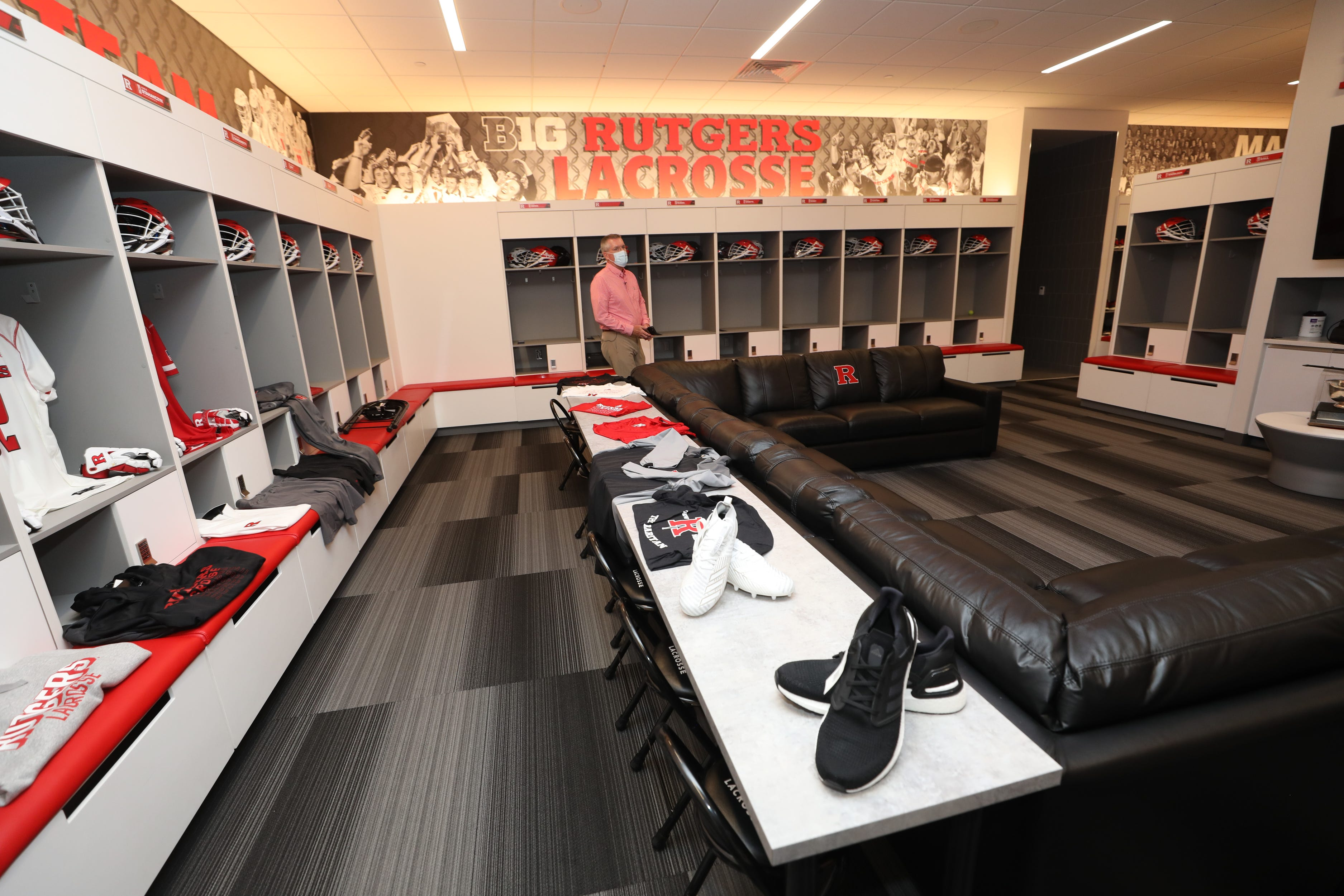 Rutgers Athletic Director, Pat Hobbs in the lacrosse locker room at the Gary and Barbara Rodkin Academic Success Center, part of the multiple new and upgraded athletic facilities on the campus of Rutgers University as seen at their Piscataway campus on August 5, 2021.
