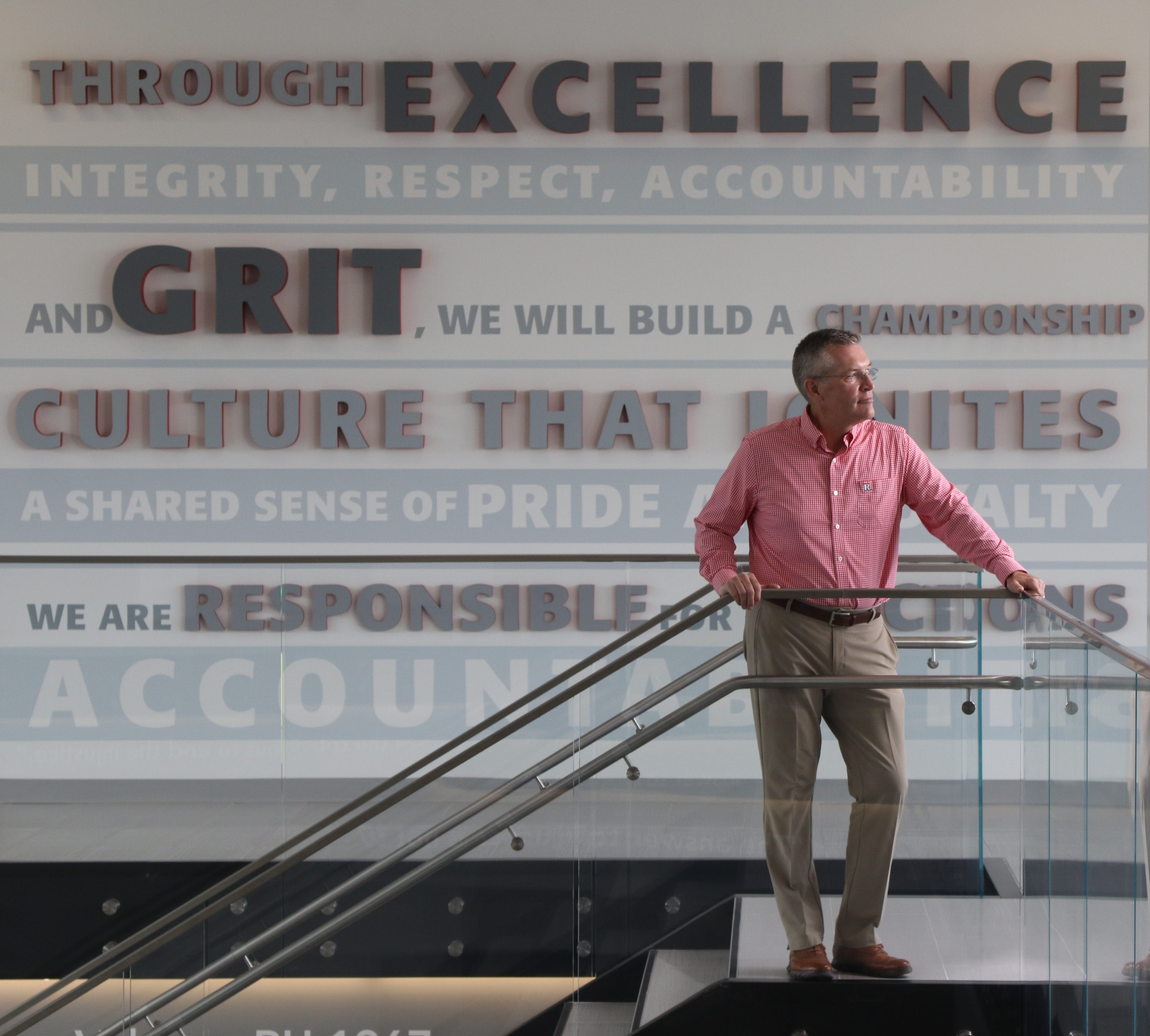 Rutgers Athletic Director Pat Hobbs on the second floor in the lobby of the Gary and Barbara Rodkin Academic Success Center, one of two new athletic facilities at Rutgers University.