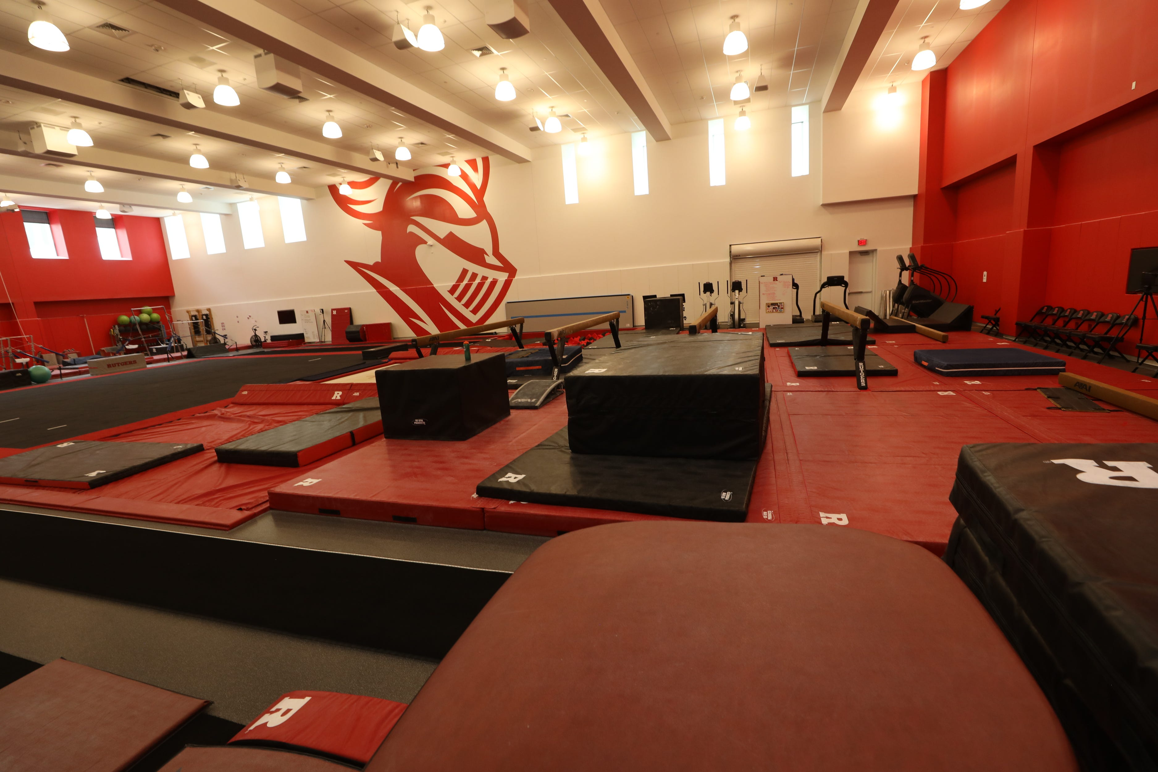The gymnastics room of the RWJBarnabas Health Athletic Performance Center, part of two new athletic facilities on the campus of Rutgers University.