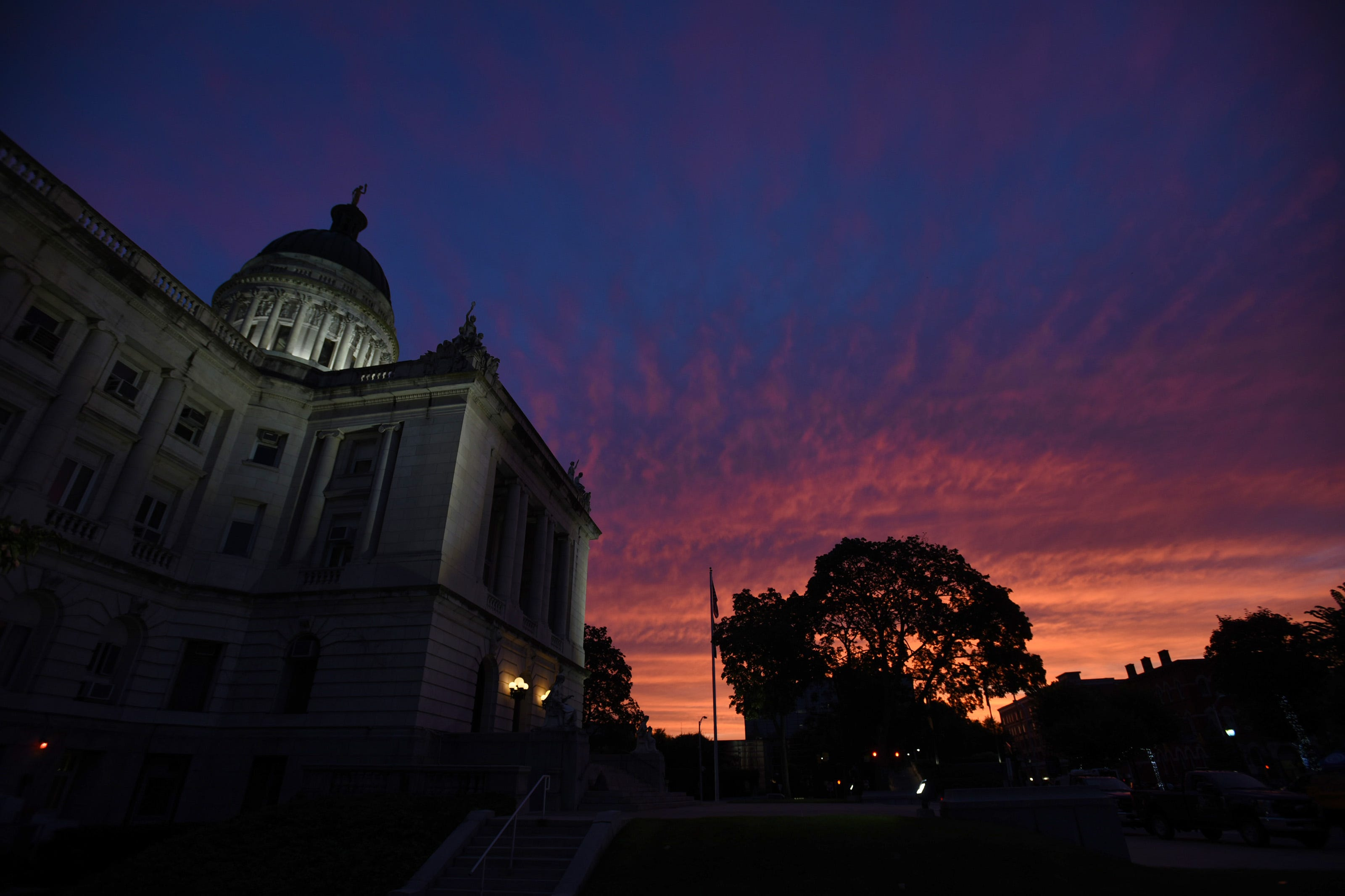 The dramatic evening sky is seen above the Bergen County Courthouse in Hackensack on 08/03/21.