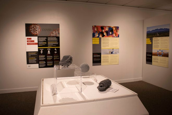 """The """"Outbreak: Epidemics in a Connected World"""" exhibit in the University Museum's West Gallery contains 3D prints of virus models made by the NMSU Baker Bioanalysis Lab."""
