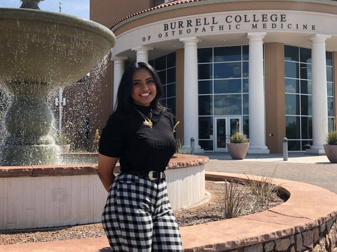 Shaha Aziz, 24, a first-year student at the Burrell College of Osteopathic Medicine at New Mexico State University, is credited with helping de-escalate a critical incident that possibly saved a man's life.