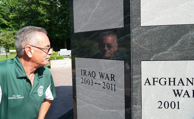 Vic Barra, one of the members of the original committee that created Westland's Veterans Memorial, visits the site on Aug. 18. 2021.