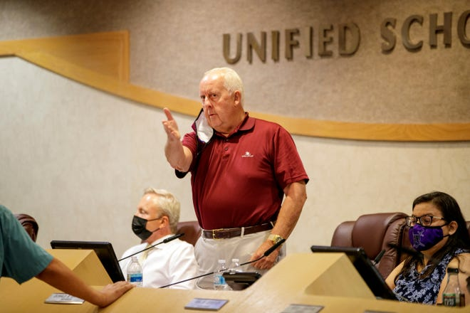 Desert Sands Unified School District Board President Don Griffith asks for the room to be cleared during pubic comments of the regular board meeting in La Quinta, Calif., on August 17, 2021.