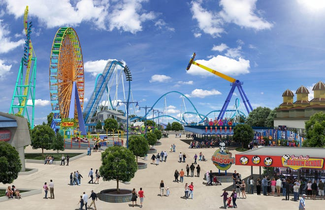 """Wicked Twister, which opened at Cedar Point in 2002, dramatically changed the park's famous skyline with its twin, 215-foot-tall bright yellow spiraling vertical spikes, which CP communications director Tony Clark described  """"as daunting as it is a work of art."""" The ride will close on Sept. 6."""